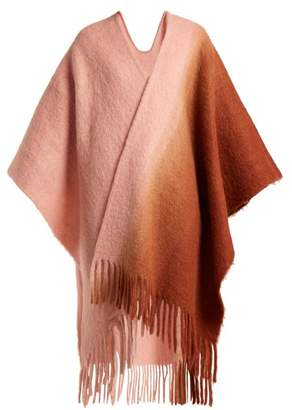 Acne Studios Kelow Bi Colour Fringed Poncho - Womens - Pink