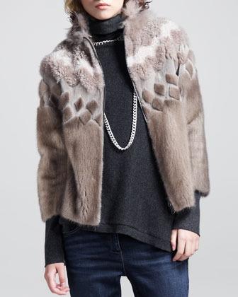 Brunello Cucinelli Mink Intarsia Zip Jacket