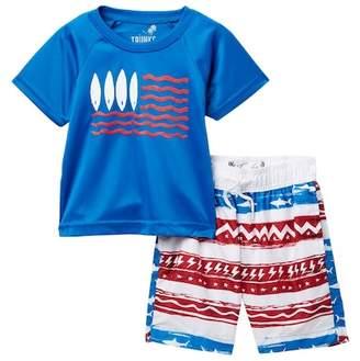 Trunks Surf and Swim CO. Americana Rash Guard & Swim Trunk Set (Toddler & Little Boys)