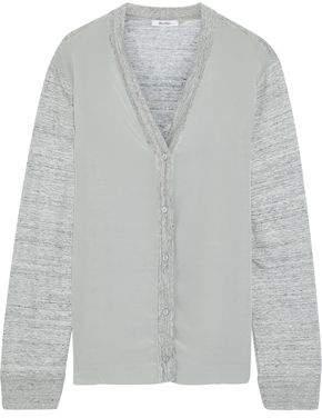 Max Mara Fertile Silk-paneled Melange Linen Cardigan