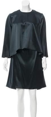 Maison Rabih Kayrouz Caped Satin Dress w/ Tags
