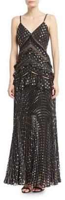 Self-Portrait Metallic Chain-Strap Polka-Dot Pleated Maxi Dress