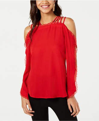XOXO Juniors' Strappy Off-The-Shoulder Scalloped Top