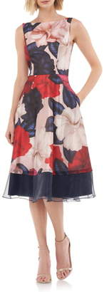 Kay Unger Floral Fit & Flare Dress
