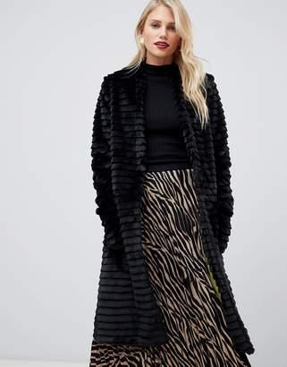Helene Berman Suki faux fur collarless coat