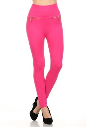 Fashionable K-Cliffs Women's Fleece Leggings in Solid Color with 2 Gold zippers & seams on Front, Copper