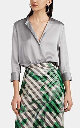 L'Agence Women's Aoki Silk Satin Button-Front Blouse - Gray