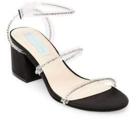 Betsey Johnson Sami Embellished Satin Ankle-Strap Sandals