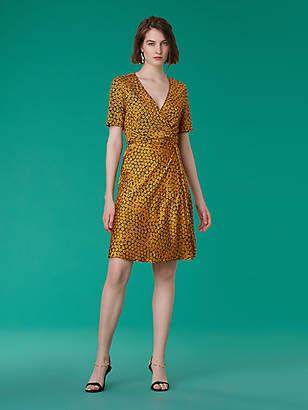 Diane von Furstenberg Short-Sleeve Satin Flare Wrap Dress