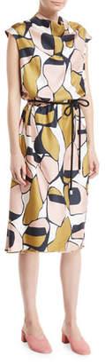 Marc Jacobs Cap-Sleeve Cowl-Neck Printed Silk Dress
