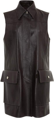 Salvatore Ferragamo Karung Leather Sleeveless Utility Jacket With Patch Pockets