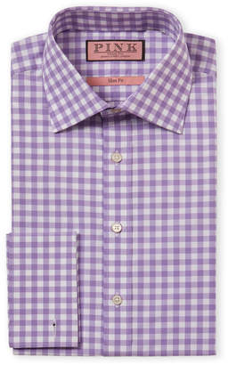 Thomas Pink Slim Fit French Cuff Check Dress Shirt