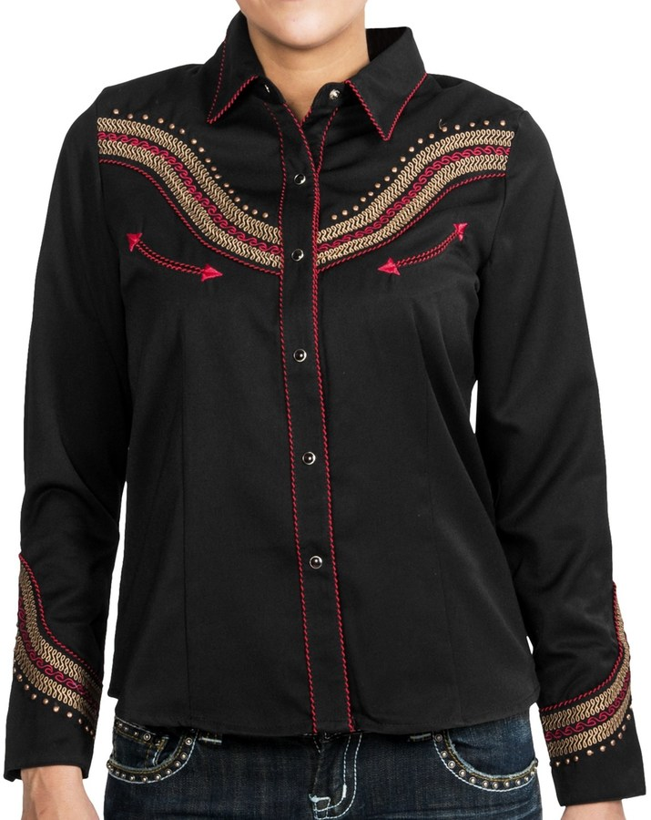 Scully Scrolled Embroidered Wave Shirt - Western, Snap Front, Long Sleeve (For Women)