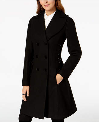 GUESS Double-Breasted Lace-Up Walker Coat