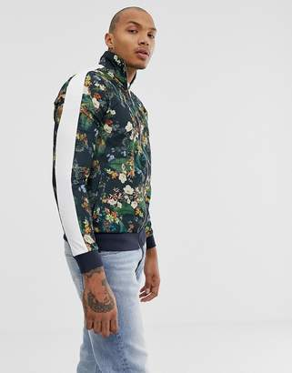 Asos DESIGN track jacket in retro fabric with floral print and side stripe