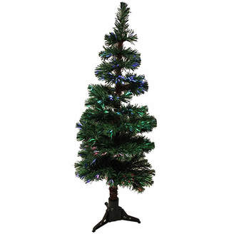 Asstd National Brand 4' Pre-Lit Fiber Optic Artificial Spiral Pine Christmas Tree - Multi Lights