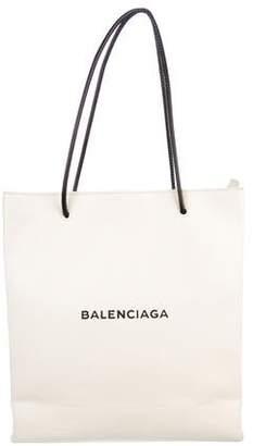 Balenciaga Leather Logo Shopping Tote