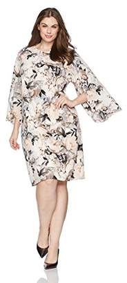 Calvin Klein Women's Plus Size Slit Flare Sleeve Dress