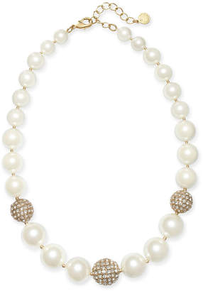 "Charter Club Gold-Tone Pave Bead & Imitation Pearl Collar Necklace, 17"" + 2"" extender"