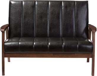Nikko Baxton Studios Faux Leather Wooden 2-Seater Loveseat