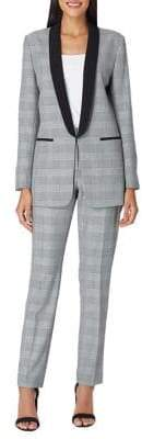 Tahari Arthur S. Levine Petite Two-Piece Plaid Shawl Collar Pant Suit