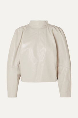 Isabel Marant Caby Gathered Leather Top - Off-white