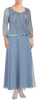 J Kara Plus Three-Quarter Sleeve Embellished Dress