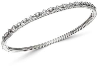 KC Designs 14K White Gold Diamond Double Row Bangle Bracelet