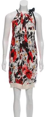Balenciaga Floral Print Mini Dress Red Floral Print Mini Dress
