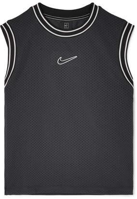 Nike Court Essentials Jersey-trimmed Appliquéd Mesh Tank - Black