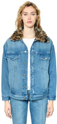 SteveJ & YoniP Leopard Faux Fur & Cotton Denim Jacket