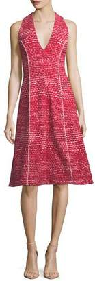 Carolina Herrera V-Neck Sleeveless Fit-and-Flare Tweed Dress