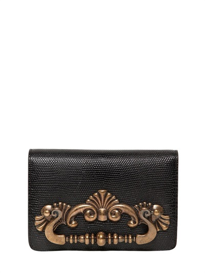 Dolce & Gabbana Ginevra Iguana Embossed Leather Clutch
