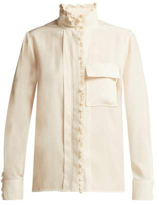Chloe - Ruffled Silk Blouse - Womens - Cream