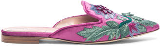 Alberta Ferretti Flower Embroidered Velvet Mules in Magenta | FWRD