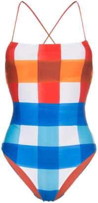 Mara Hoffman olympia spaghetti strap check swimsuit