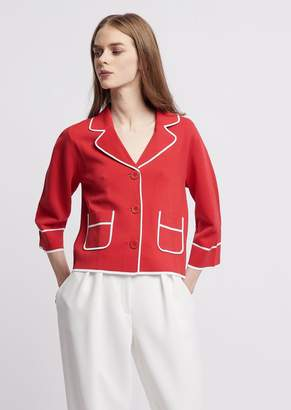Emporio Armani Jacket In Stitched Knit With Contrast Profiles