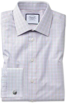 Charles Tyrwhitt Extra Slim Fit Pink Multi Check Egyptian Cotton Dress Shirt French Cuff Size 14.5/32