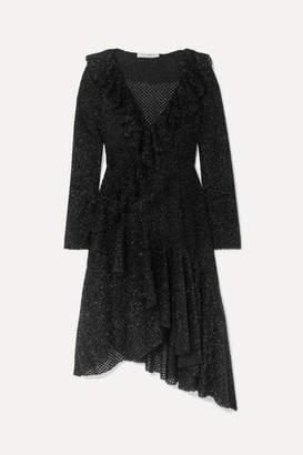 Philosophy di Lorenzo Serafini Asymmetric Ruffled Metallic Knitted Dress - Black