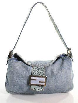FendiFendi Blue Denim Ostrich Leg Trim And Blue Lace Agate Stone Shoulder Bag Small