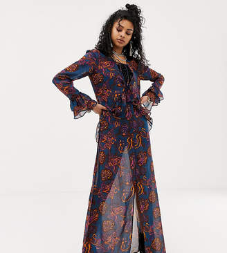 f053f922a3 Sacred Hawk maxi dress in sheer floral paisley