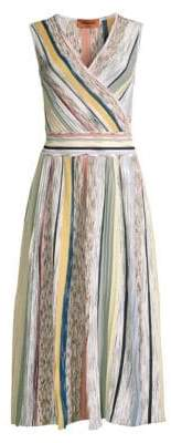 Missoni Striped Pleated V-Neck Dress