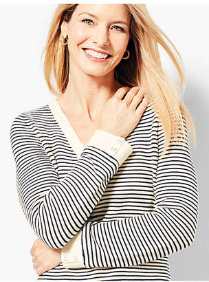 Talbots Link-Stitched V-Neck Sweater - Stripe