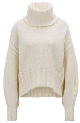 BOSS Hugo Turtleneck sweater in an air-spun virgin-wool M Natural