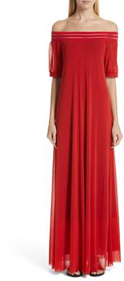 Fuzzi Illusion Off the Shoulder Maxi Dress