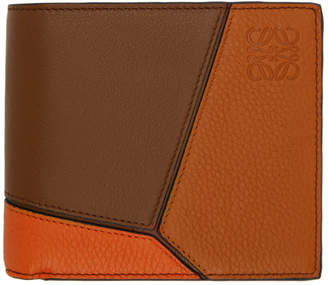 Loewe Brown and Orange Puzzle Wallet