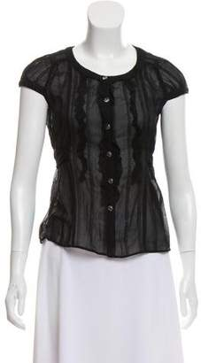 Courreges Ruffle-Accented Cap Sleeve Top