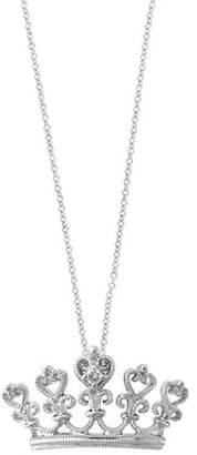 Effy 0.01 TCW Diamond and 14K White Gold Crown Pendant Necklace