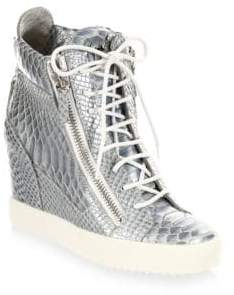 Giuseppe Zanotti Lamay Lorenz Leather Wedge Sneakers