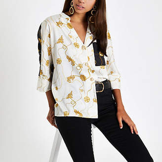 River Island Womens Cream chain print button front blouse